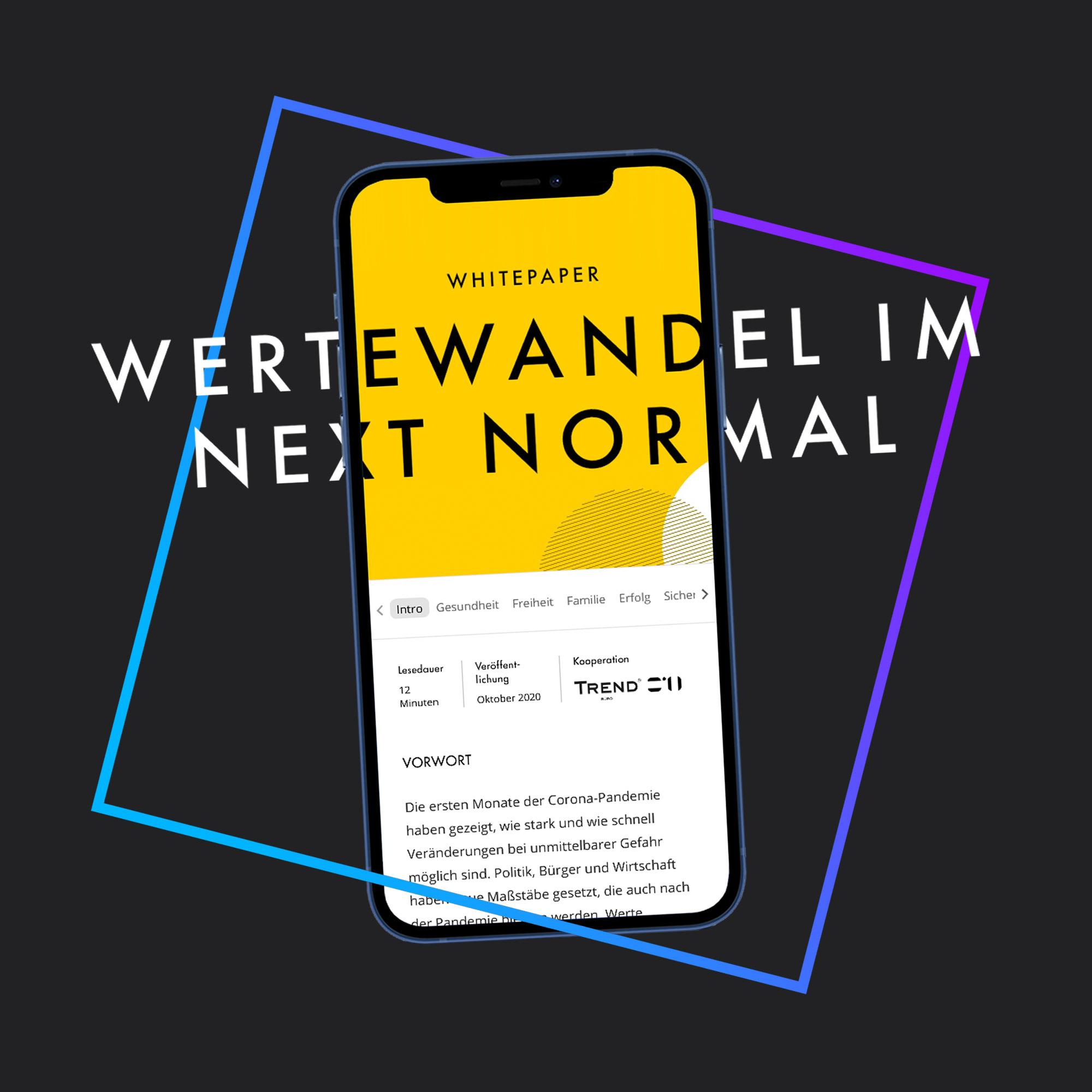 Das Bild zeigt einen Smartphone Screen mit dem geöffneten Whitepaper zum Thema Wertewandel im Next Normaln