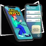 Zwei Smartphone Screens mit Interfaces der App Call of Invest